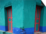 Brightly Painted Corner House in Chinique, Quiche, Guatemala Posters by Jeffrey Becom