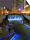 The Cheonggyecheon Stream Draws Crowds of Locals Out in Early Evening, Seoul, South Korea Poster by Anthony Plummer