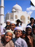 Group of Boys with Taj Mahal in Background, Looking at Camera, Agra, India Posters by Paul Beinssen