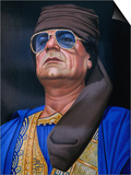 Painting of Libyan Leader Colonel Muammar Al-Gaddafi, Tripoli, Tarabulus, Libya Print by Doug McKinlay