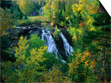 Waterfall and Autumn Colours with House in Background, Silver River Falls, Keweenaw County, USA Poster by Charles Cook