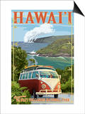 VW Van - Hawaii Volcanoes National Park Art by  Lantern Press
