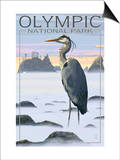 Olympic National Park - Heron and Fog Shorline Prints by  Lantern Press