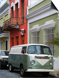 Old Volkswagen Combi Outside Colourful Colonial Houses in Old San Juan Poster by Rachel Lewis