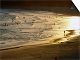 The Setting Sun Illuminates Surfers and Swimmers on Bondi Beach, Sydney, Australia Print by Glenn Beanland