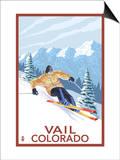Vail, CO - Vail Downhill Skier Art by  Lantern Press