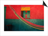 Detail of Painted House Facade with Shutter and Hammock, La Venta Del Sur,Choluteca, Honduras Print by Jeffrey Becom