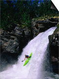 Kayaker Going Down Waterfall of Store Ula River, Rondane National Park, Norway Prints by Anders Blomqvist