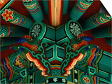 Ceiling Detail at Temple in Village, Seoul, South Korea Prints by Eric Wheater