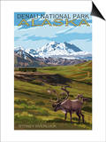 Denali National Park, Alaska - Caribou and Stoney Overlook Prints by  Lantern Press