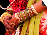Bejewelled Bride with Henna Hands at Mumbai Wedding Prints by Gerard Walker