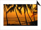 A Couple in Silhouette, Enjoying a Romantic Sunset Beneath the Palm Trees in Kailua-Kona, Hawaii Prints by Ann Cecil