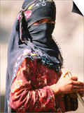 Portrait of Muslim Woman in Headscarf, Wadi Surdud, Yemen Poster by Frances Linzee Gordon