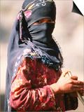 Portrait of Muslim Woman in Headscarf, Wadi Surdud, Yemen Poster by Frances Linzee Gordon