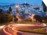 Vehicles Leave Colourful Light Trails at Dusk on Lombard Street Prints by Orien Harvey