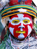 Sing Sing Group Member with Face Paint, Mt. Hagen Cultural Show, Papua New Guinea Prints by John Banagan