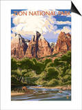 Zion National Park - Virgin River and Peaks Prints by  Lantern Press