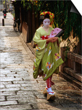 Maiko Walking Along Street in Gion, Kyoto, Japan Posters by Frank Carter