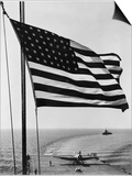 Airplane on Battleship Deck with American Flag in Foreground, World War II Plakater