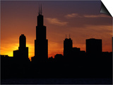 The Sears Tower and Skyline at Sunset, Chicago, USA Print by Richard I'Anson