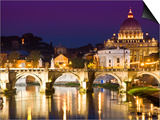 St Peter's Basilica from the Tiber River at Dusk Posters by Glenn Beanland