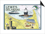 Lewes, Delaware - Nautical Chart Prints by  Lantern Press