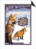 Mt. Washington, New Hampshire - Fox Scene Prints by  Lantern Press