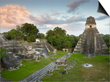 Grand Plaza with Temple of Great Jaguar (Temple I) at Right, in Mayan Ruins of Tikal Posters by Sean Caffrey