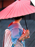 Geisha with Umbrella in Gion District Prints by Rachel Lewis