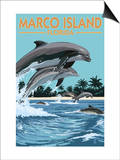 Marco Island, Florida - Dolphins Jumping Poster by  Lantern Press