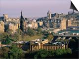 Overhead of Princes Gardens and National Gallery from Edinburgh Castle, Edinburgh, United Kingdom Prints by Bethune Carmichael