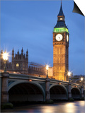 Westminster Parliament across River Themes at Dusk Prints by Sean Caffrey