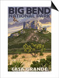 Big Bend National Park, Texas - Casa Grande Posters by  Lantern Press