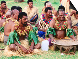 Men Seated for Ceremony, Fiji Posters by Peter Hendrie
