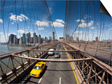 Brooklyn Bridge with South Manhattan in Background Poster by Huw Jones