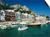 Boats in Marina Grande Harbour, Capri, Campania, Italy Poster by David Tomlinson