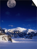High Moon Over the Ruth Ampitheatre on Ruth Glacier, Denali National Park & Preserve, Alaska, USA Prints by Mark Newman