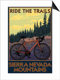 Sierra Nevada Mountains, California - Bicycle on Trails Print van  Lantern Press