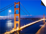 Golden Gate Bridge at Dusk with Moon in Background from Vista Point Print by Orien Harvey