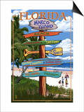 Marco Island, Florida - Destinations Signpost Prints by  Lantern Press
