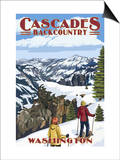 North Cascades, Washington - Showshoer Scene Prints by  Lantern Press