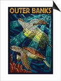 Outer Banks, North Carolina - Sea Turtle Mosaic Poster by  Lantern Press