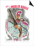 1962 Moulin Rouge cancan rose Poster by Pierre Okley