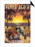Venice Beach, California - Woodies and Sunset Art by  Lantern Press
