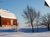 Typical Red Barn in Rural Wisconsin in Winter Prints by Peter Ptschelinzew
