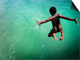 Torres Strait Islander Boy Leaping into the Sea, Seisia, Cape York Prints by Tim Barker