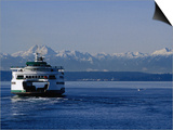 Wa State Ferry Nearing Colman, Seattle, Washington, USA Print by Lawrence Worcester