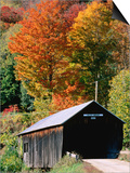 Autumn Leaves Surrounding Cilley Covered Bridge, Vermont Art by John Elk III