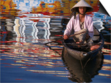 Woman in Boat, Reflection of Newly Painted Boat on Perfume River, Hue, Thua Thien-Hue, Vietnam Art by Stu Smucker