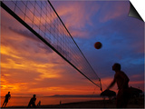 Sunset Volleyball on Playa De Los Muertos (Beach of the Dead), Puerto Vallarta, Mexico Prints by Anthony Plummer